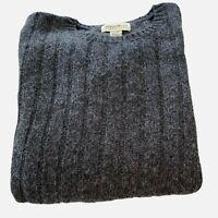 Vintage Eddie Bauer Wool Blend Mens Large Gray Pullover Sweater Ribbed Design UK