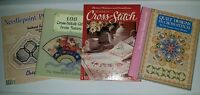 Cross-Stitch Needlepoint Lot of 4 Books Magazines Designs Crafts Patterns Gifts