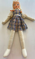 "Vintage Jumbo Cloth Doll Plastic Face Stuffed Carnival Prize Toy 40"" Tall"