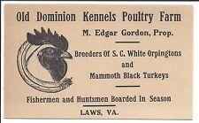 c1900 Illus Business Card, Kennel & Poultry Farm, Edgar Gordon Breeder, Laws, VA