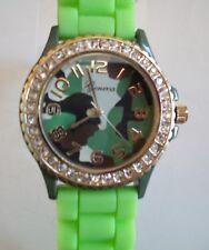 Fashion Jelly Silicone camouflage Bling Rhinestone Quartz Wrist Watch