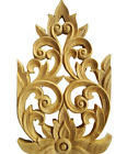 2xTeak Wood Carved Flower Wall Art Home Decor Thai Vintage Collectible Gifts