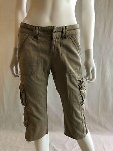 Aeropostale Women's Cargo Pants Brown Pockets Straight Leg Cut Low Rise Waist S