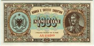 Albania 1000 Leke 1947 🔸aUNC/UNC🔸 Banknote - k166