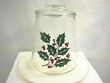 VINTAGE BARTLETT COLLINS CHRISTMAS HOLLY COOKIE JAR & LID CLEAR GLASS