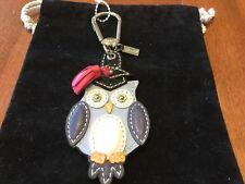 New Coach Blue/Multi-Color Graduation Owl Keychain/Keyfob/Keyring/Charm #93164