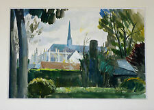 Aquarelle Vendôme 1938 Loir-et-Cher Abbaye de la Trinité