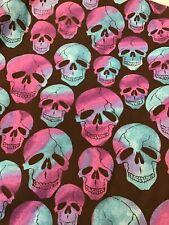 New listing Purple Teal Skulls On Black Fabric 2 1/2 Yards x 44� New Halloween Creepy Spoo