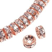 """""""AAA"""" Crystal Rhinestone Roundel Spacer Beads  Rose Gold - 5 Sizes - lady-muck1"""