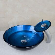 Hand Painting Bathroom Vessel Sink Vanity Basin & Waterfall Faucet Tap Combo