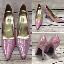 Pink Glitter Pointed Toe High Stiletto Heel Party Shoes 6 UK 80s Fancy Dress