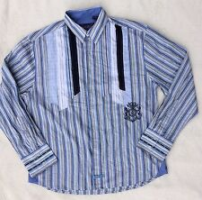 English Laundry Christopher Wicks Boho L/S Dress Shirt Embroidered XXL Hand Sewn