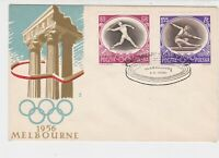 Poland 1956 Melbourne Olympics Columns Ringed Cancel FDC Stamps Cover Ref 23054