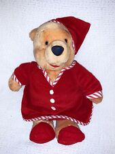 "Disney Store Winnie the Pooh 15"" Plush Stuffed Bear Red Pajamas Nightshirt Cap"