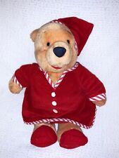 "Disney Store Winnie the Pooh 15"" Plush Stuffed Bear Red Pajamas Nightshirt Cap"