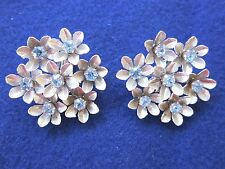 "Coro EARRINGS Silver Flowers Blue Rhinestone Centers-Large 1 5/8""-Clip-Vintage"