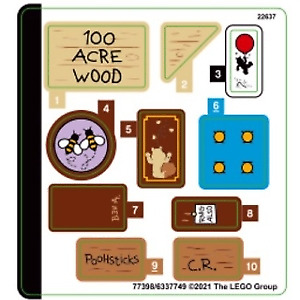 Lego Ideas STICKER SHEET 1 ONLY for Lego set 21326 Winnie the Pooh - Brand New