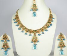 Turquoise Gold Plated Kundan Indian Jewelry Necklace Earring Tikka