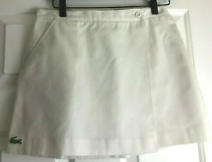 Classic Lacoste Size 14 White Tennis Golf Skirt Cotton Twill Front Pockets NEW
