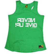 Never Give Up Gym bodybuilding funny BirthdayWOMENS GIRLIE VEST