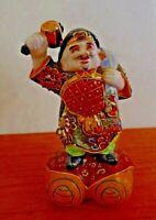 """Japanese KUTANI Moriage Porcelain Statue """"Daikukuten"""" Lucky God of Wealth"""