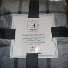 Modern Southern Home Ultra Plush KING Blanket Grey Soft & Cozy ~New~ Gray