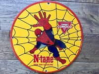"""Vintage Old Conoco Gas N-Tane Spiderman Heavy Porcelain Pump Plate Sign 12"""" Oil"""