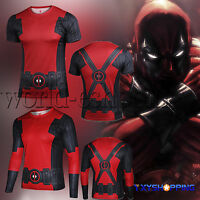 Superhero Marvel Deadpool Costume Cycling T-Shirts Bicycle Jersey Sport Tee Tops