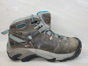 KEEN Women's Targhee Mid Hiking Trail Boots Shoes Size 6 M Grey Teal Suede