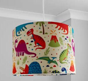 New HQ Stunning Dinosaur Lamp Shade Pendant On Cream White Fabric 30 Cm