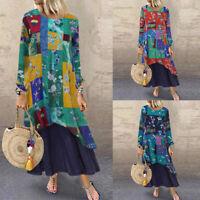 ZANZEA Women's Long Sleeve Long Maxi Dress Floral Print Kaftan Tops Shirt Dress