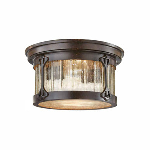 Outdoor Flushmount Lamont Clear Water Glass 2-Light Weather Resistant Chestnut