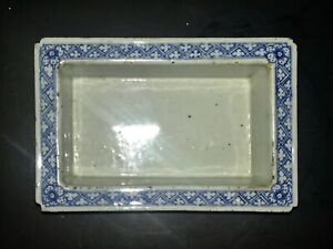 Antique Chinese Qing Dynast Blue & White Porcelain Narcissus Flower Pot