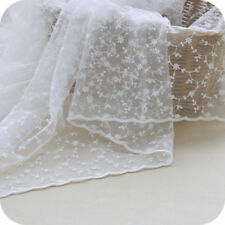 0.5Yard Floral Embroidery White Lace Fabric Wedding Dress Curtain 51.18'' Width