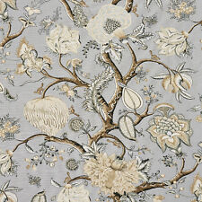 SCALAMANDRE PONDICHERRY JACOBEAN LINEN TOILE FABRIC 5 YARDS MINERAL BLUE MULTI