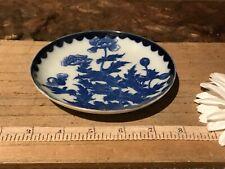 """Asian Porcelain Blue & White Floral Design Saucer 5 1/8"""" Marked"""