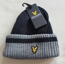 Lyle and Scott Junior Plain rib Beanie Hat - Grey and black, new with tags