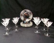 "14 Pc Vintage Etched Floral & Cornucopia Pattern Crystal Glasses & 8"" Plates"