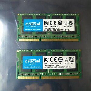 Crucial 8GB 2X4GB DDR3 2RX8 1600MHz PC3L-12800S 204pin Laptop Memory RAM 7519