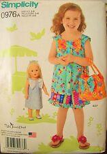 "Girls Simplicity 1475 Pattern Dress Top Shorts Purse 18"" Doll UNCUT Sz 3-4-5-6-8"