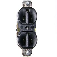 1 UL Socket-Outlet (Receptacle) 15A 125V w/ 2 Mounting Screws. Black. HEAVY DUTY
