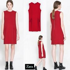 ZARA Red Straight Seamed Knee Length Front Pockets Casual Dress size XS