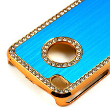 de lujo cristal de diamante Funda Rígida Para Apple iPhone 4 4g Azul