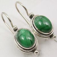 """925 Fine Silver Green Oval Malachite Drop Dangle Earrings 1"""" New Gift"""
