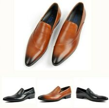 Mens Slip On Pointed Toe Genuine Leather Business Dress Formal Oxfords Shoes New