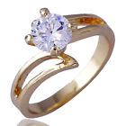 Wedding Deluxe Women yellow Gold Filled Single CZ Ball Ring Size 6 Free Shipping