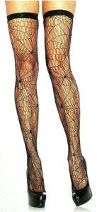 Leg Avenue Spider Web Net Thigh High Stockings Elastic Spandex Reg Black 6322