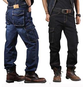 Mens Cargo Jeans Combat Denim Pants Work Pants Multi-pockets Overalls Trousers