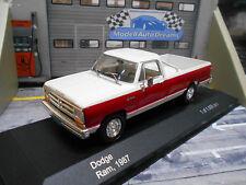 DODGE RAM Pick up Pickup D/W trucks rot weiss 1987 IXO White Box 1:43