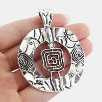 2 Large Tibetan Silver Tone Spiral Style Charms Pendants For Jewellery Making